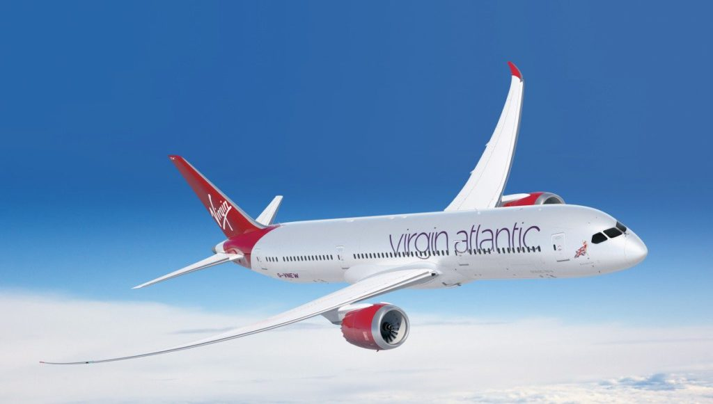 A Virgin Atlantic Dreamliner in flight.