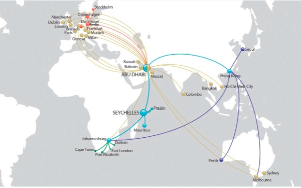 The official Fly Air Seychelles 2017 Route Map