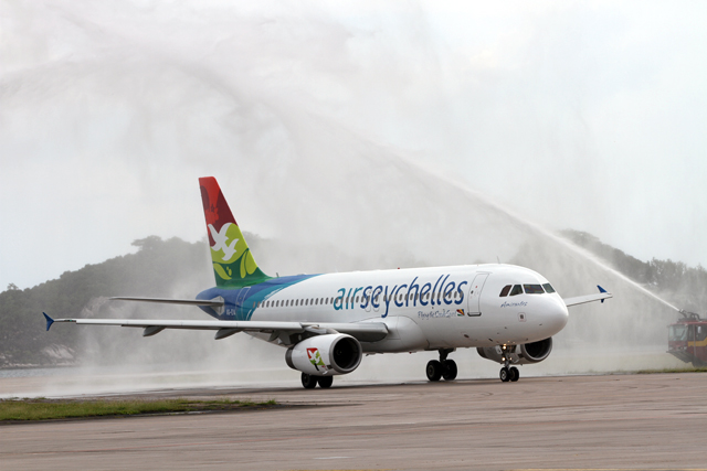 An Air Seychelles jet on the ground.