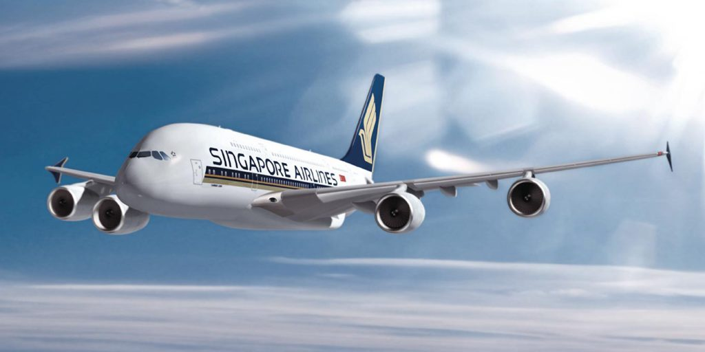A Singapore AIrlines jet in flight