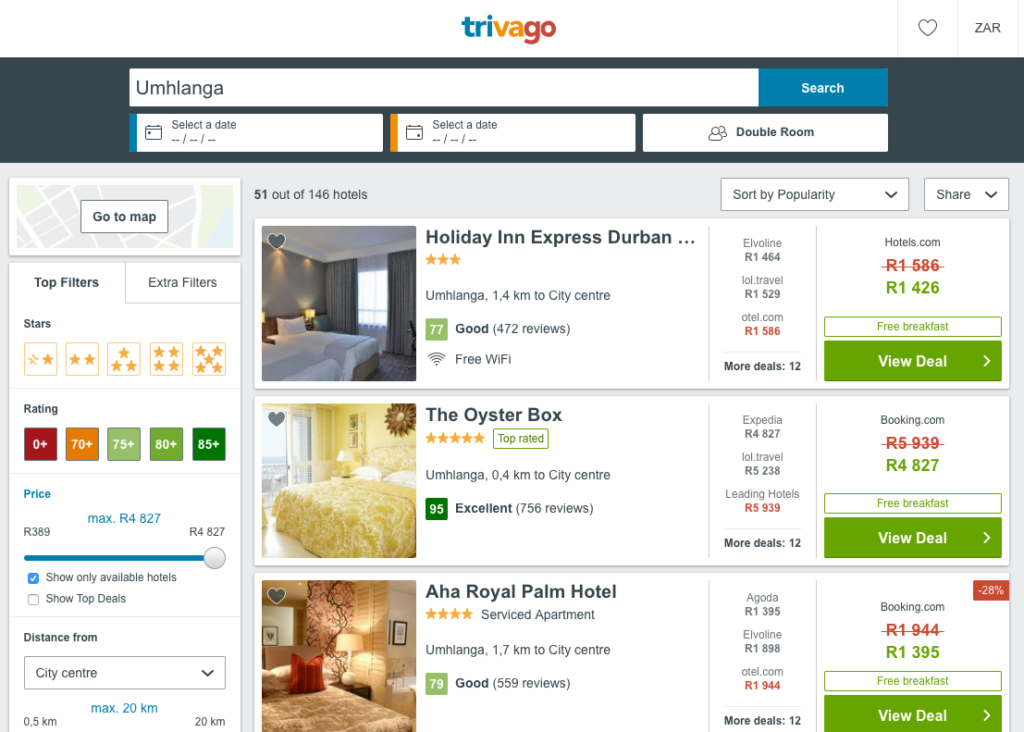 The Trivago South Africa Interface