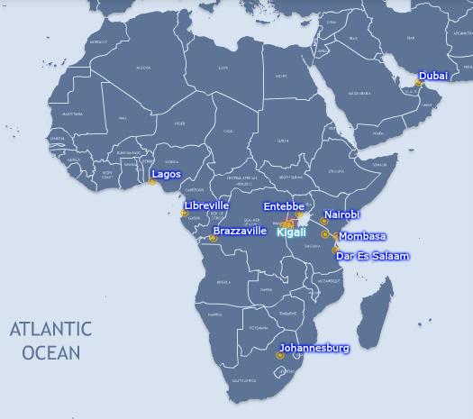 RwandAir Flight Route Map