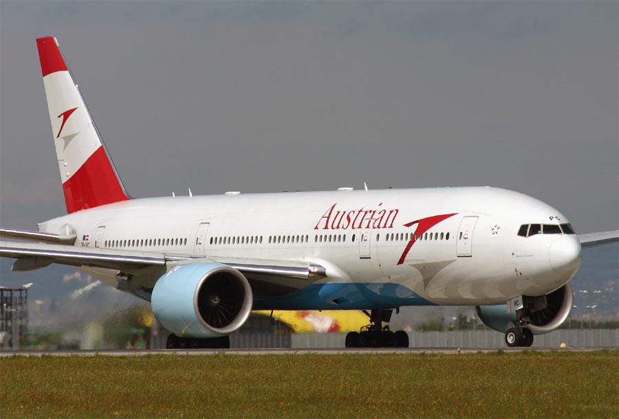 An Austrian Boeing 777 on the runway.