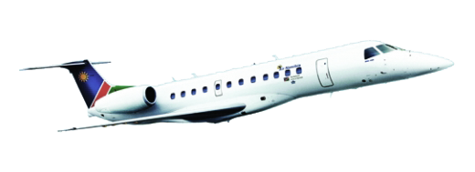 An Air Namibia Embraer jet in flight.