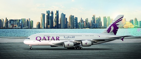A modern Qatar Airways jet on the ground.