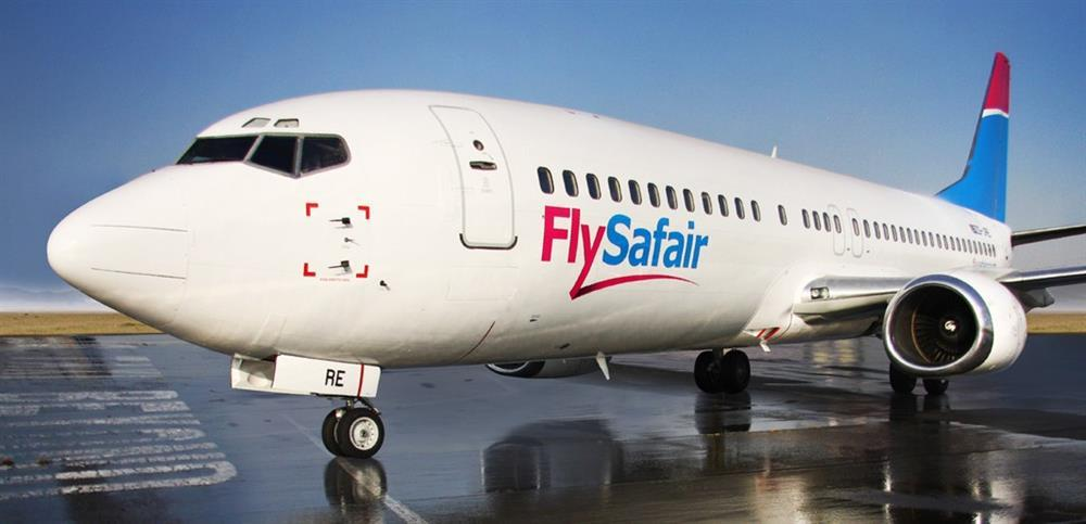 A FlySafair Boeing 737 on the ground.