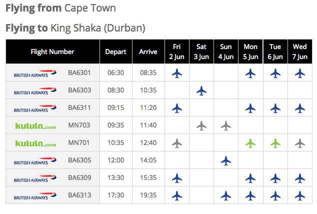 Kulula's Cape Town to Durban Flight Schedule 2017