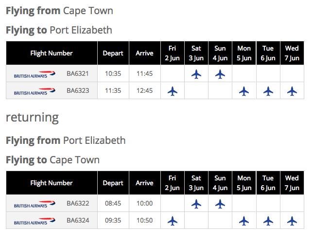 Kulula's 2017 Cape Town Port Elizabeth-Cape Town schedule
