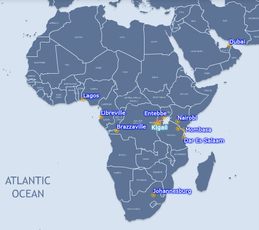 RwandAir Flight Route Map