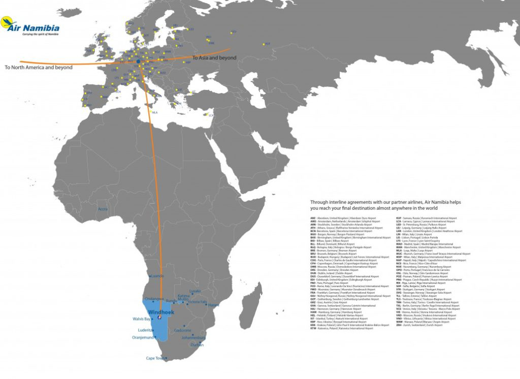 The 2017 Air Namibia Route Map.